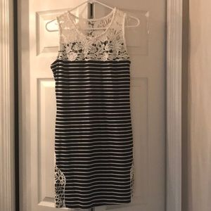 Petite Medium blue & white striped, lace dress